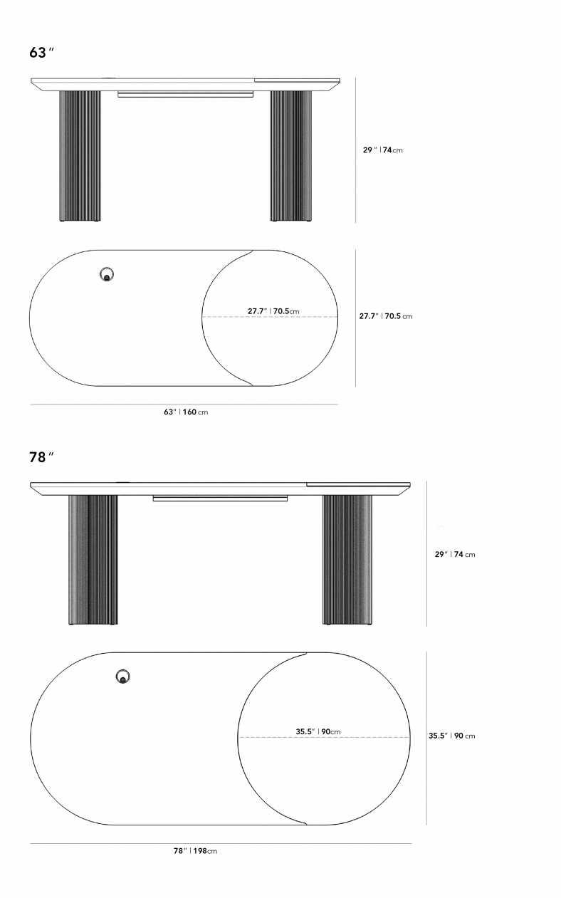 Dimensions for Massimo Desk