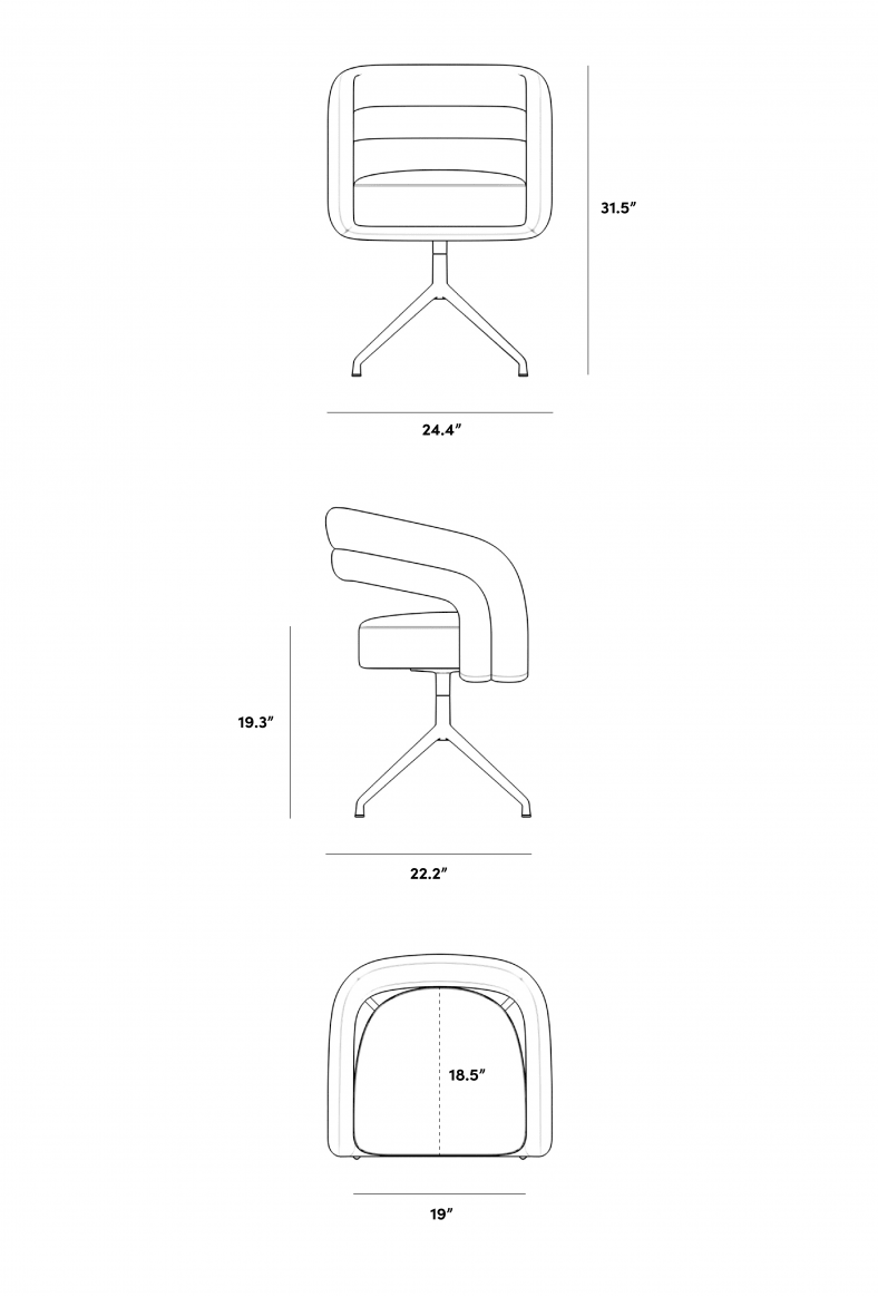 Dimensions for Mia Dining Chair