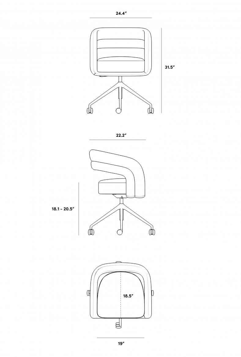 Dimensions for Mia Office Chair