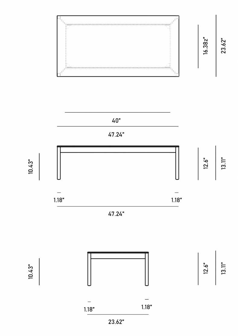 Dimensions for Mika Outdoor Coffee Table