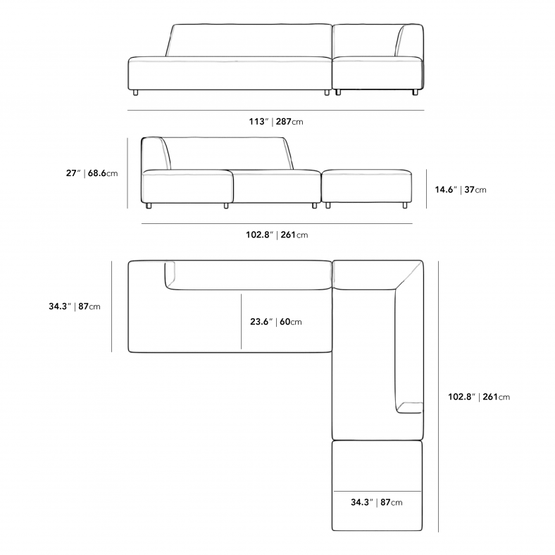 Dimensions for Mika Outdoor Modular Sectional
