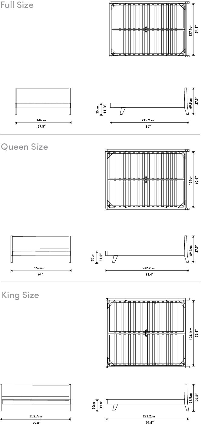 Dimensions for Mikkel Bed
