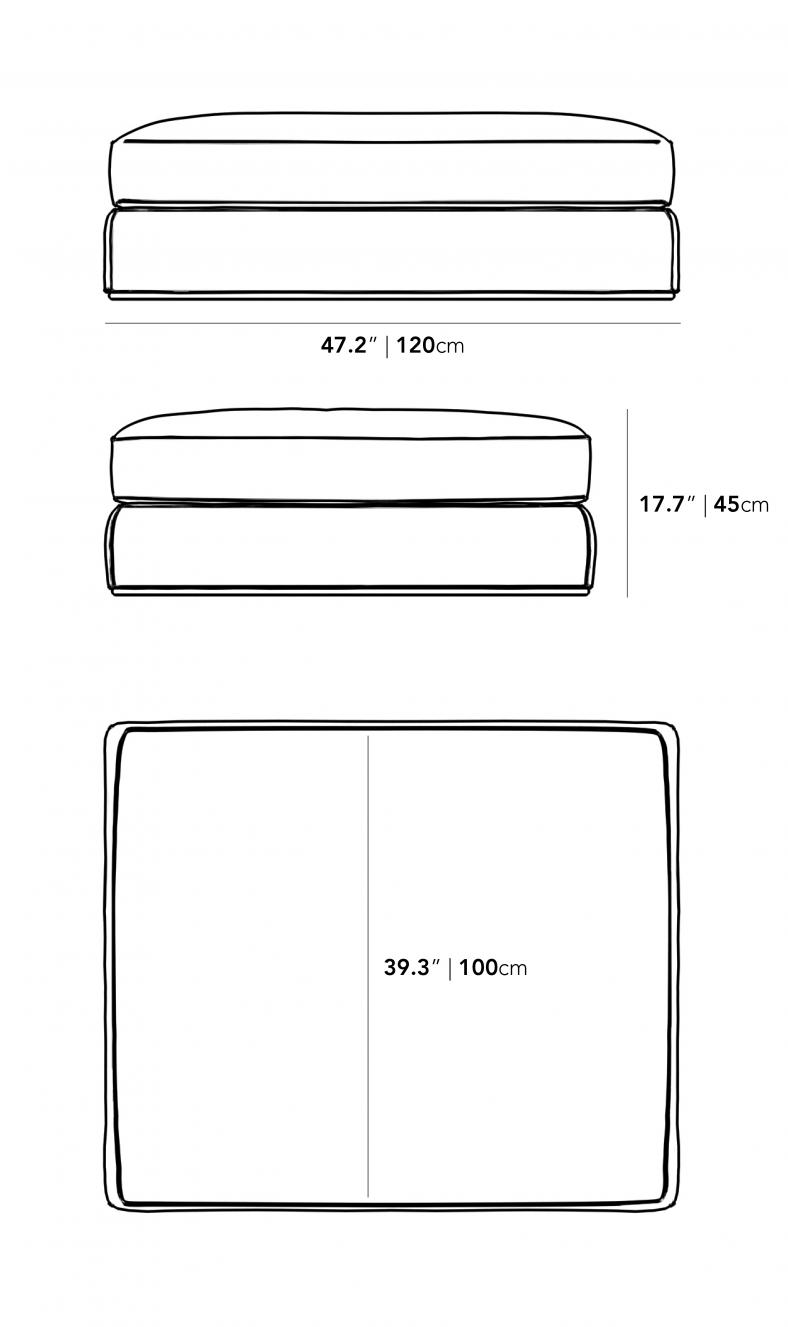 Dimensions for Milo 1-Seater - Ottoman