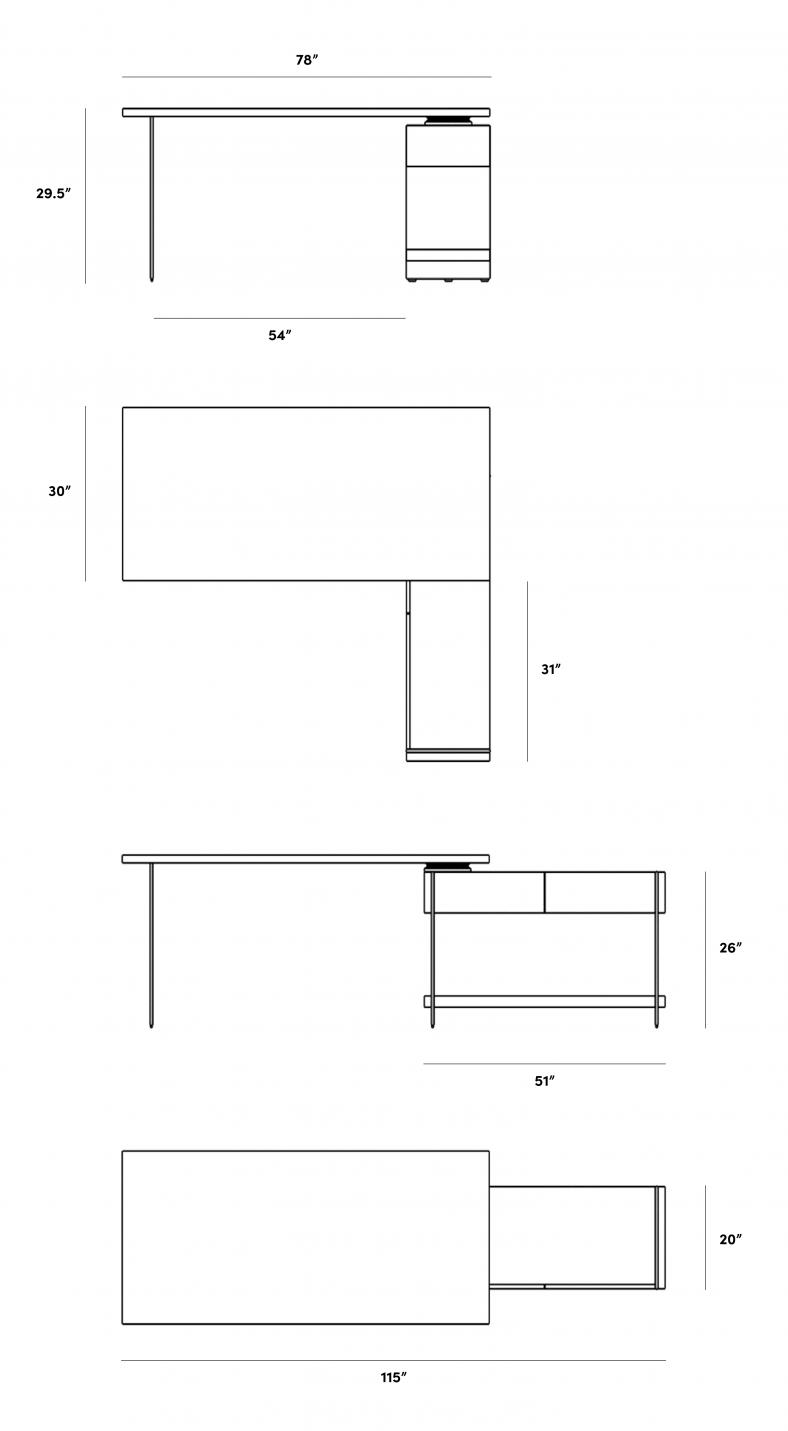 Dimensions for Nero Desk