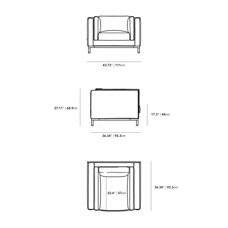 Dimensions for Nico Armchair