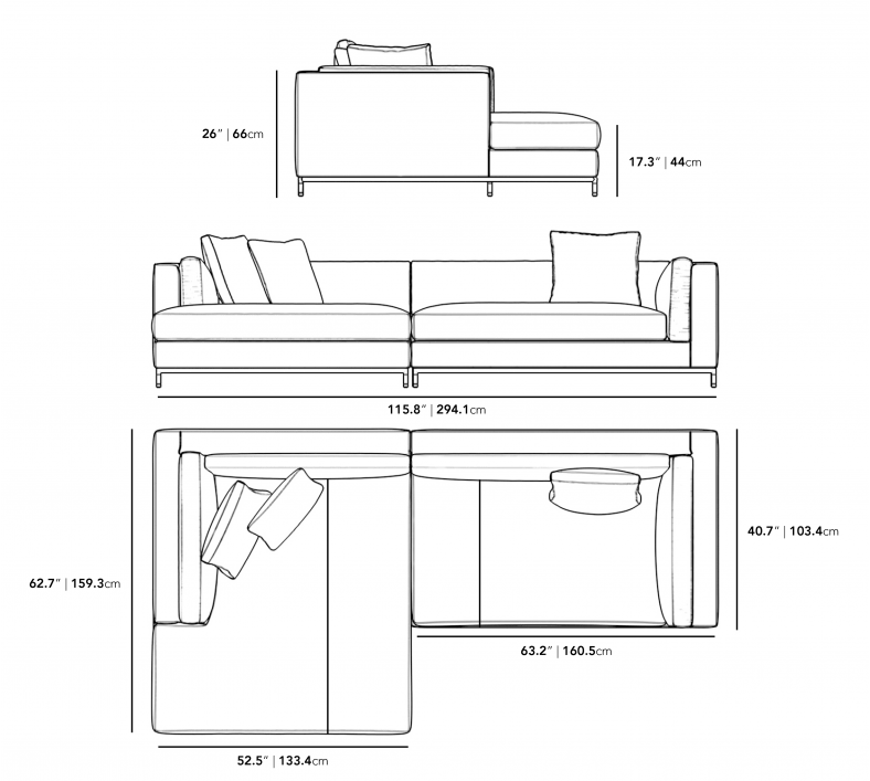 Dimensions for Nico Sectional