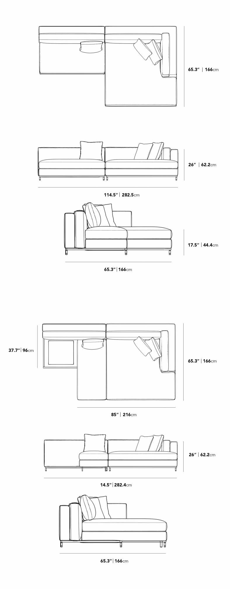 Dimensions for Nico Sleeper Sectional