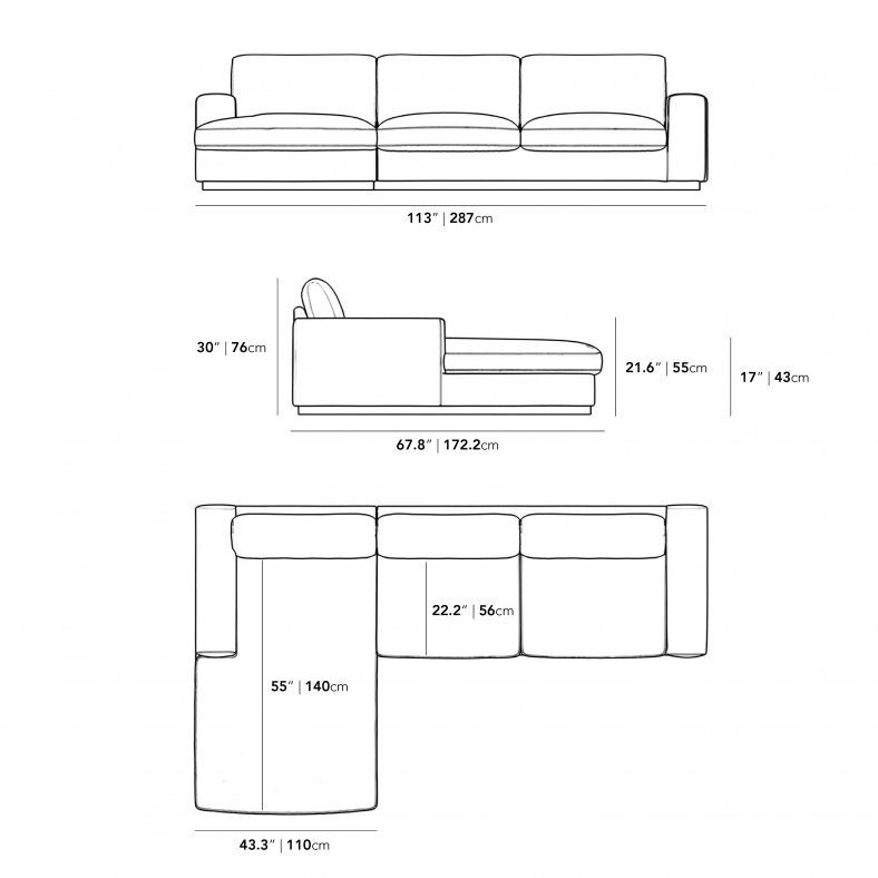 Dimensions for Noah Sectional - Brass