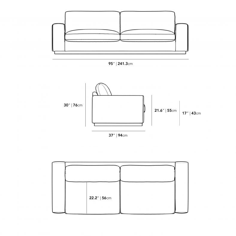 Dimensions for Noah Sofa - Brass