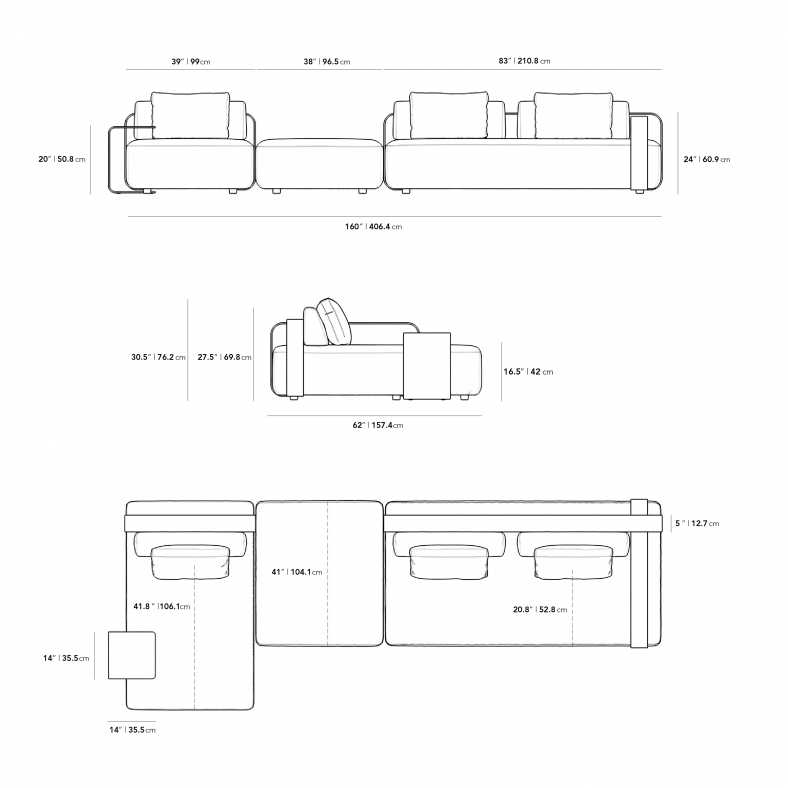 Dimensions for Nobi Outdoor Modular Sectional