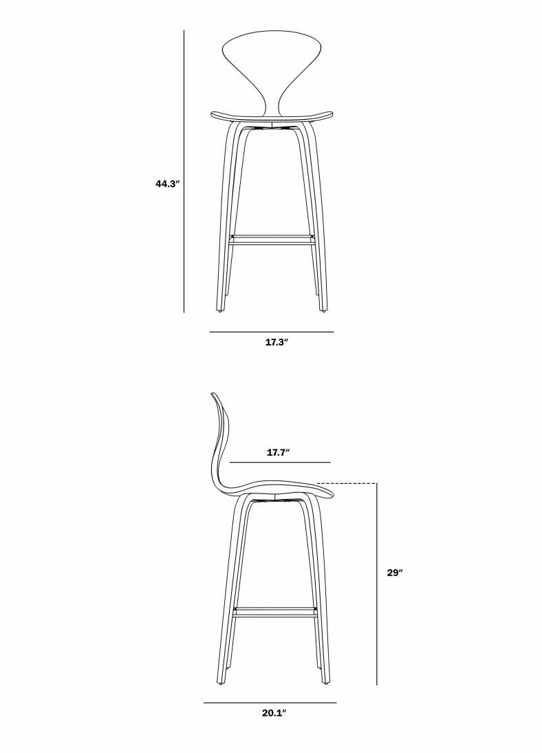 Dimensions for Norman Barstool