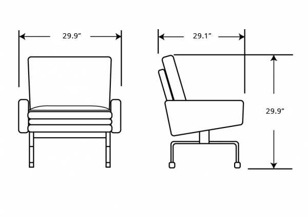 Dimensions for PK31 Armchair