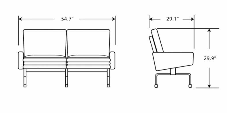 Dimensions for PK31 Loveseat