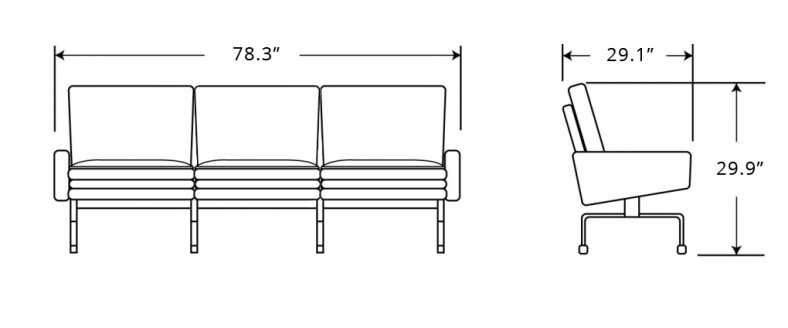 Dimensions for PK31 Sofa