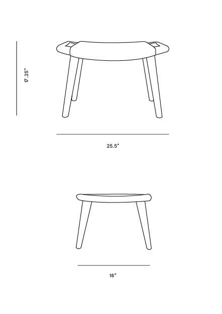 Dimensions for Papa Chair Ottoman