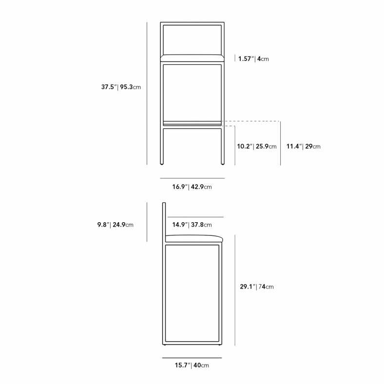 Dimensions for Parson Outdoor Barstool