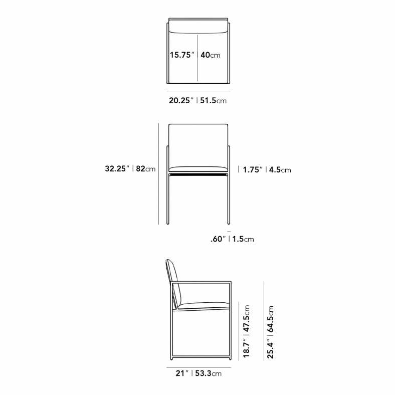 Dimensions for Parson Outdoor Dining Chair
