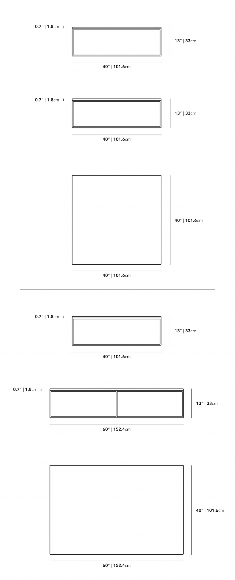 Dimensions for Parson Coffee Table