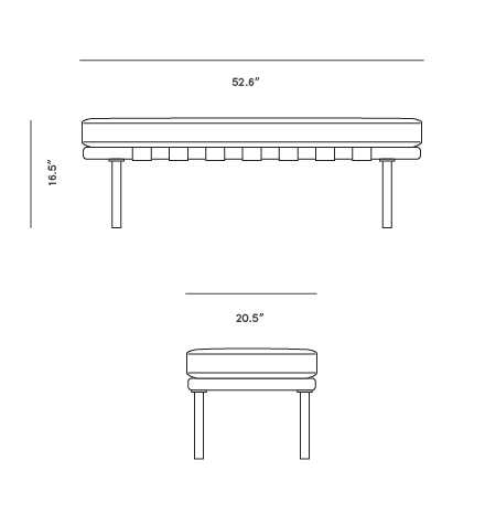 Dimensions for Rove Pavilion Bench