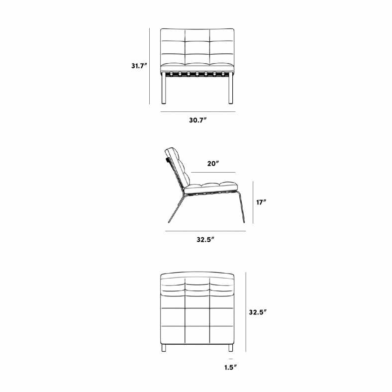 Dimensions for Rove Pavilion Lounge Chair