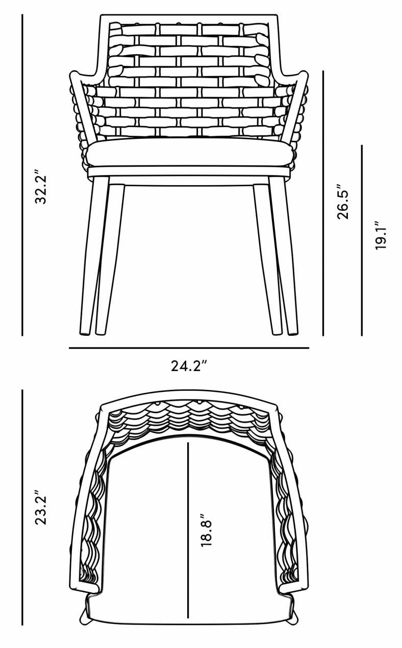 Dimensions for Penelope Dining Chair - Set of 2