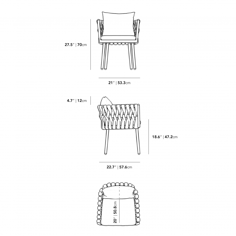 Dimensions for Pierre Outdoor Dining Chair