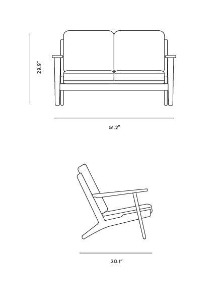Dimensions for Plank Loveseat