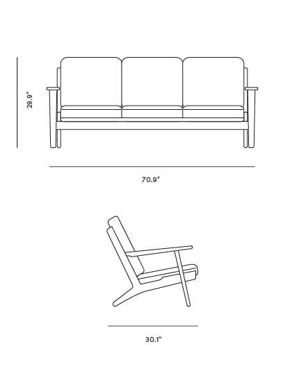 Dimensions for Plank Sofa