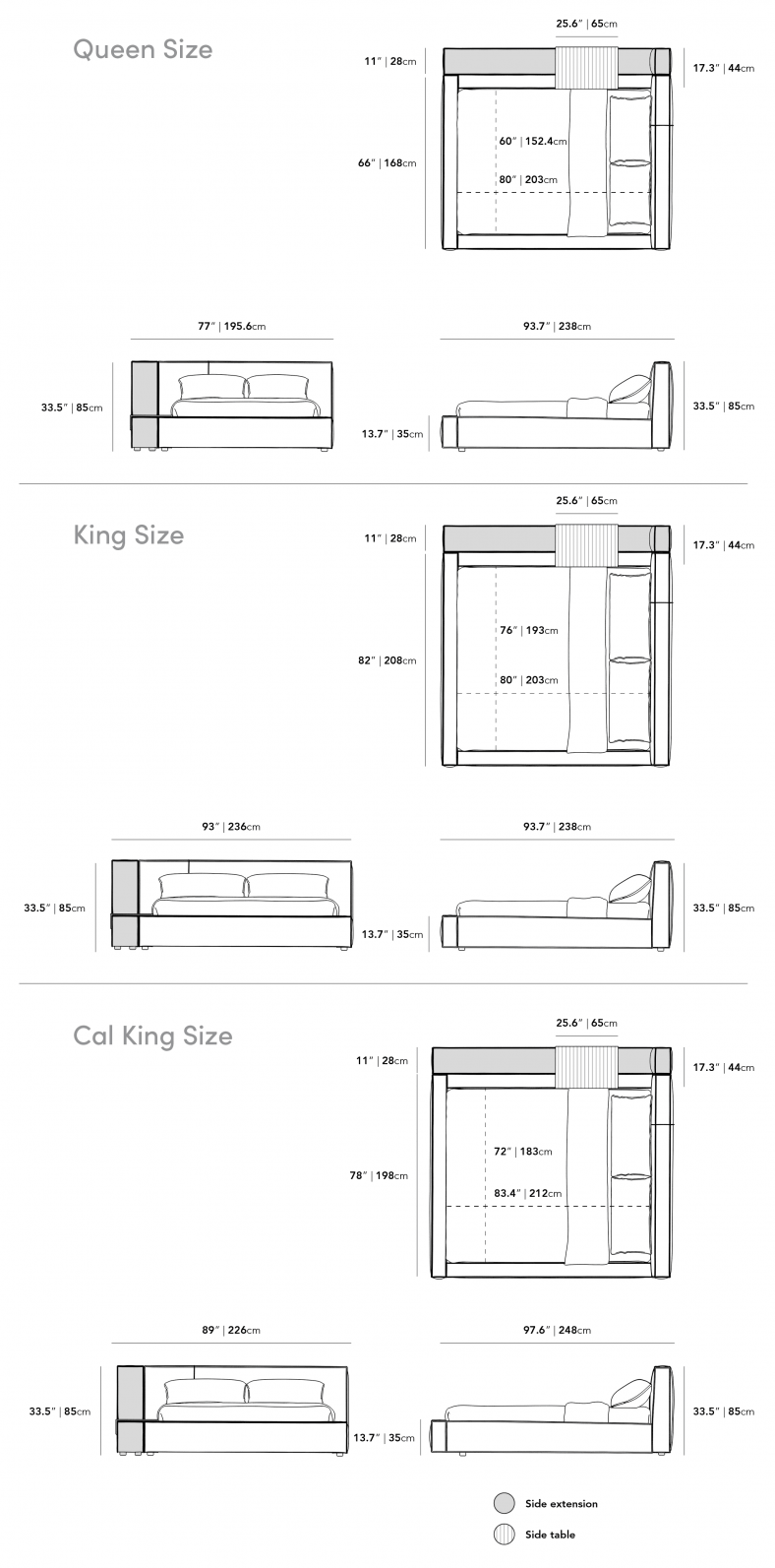 Dimensions for Porter Bed - Side Table