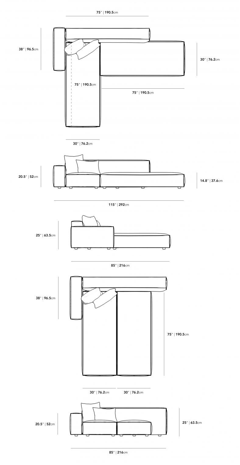 Dimensions for Porter Sleeper Sectional