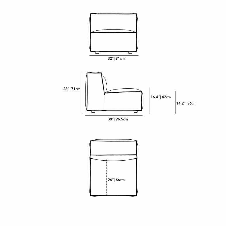 Dimensions for Porter Armless - Grande
