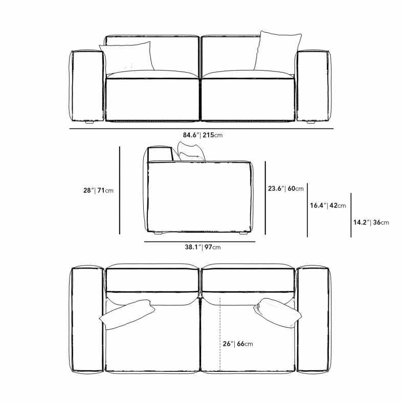 Dimensions for Porter Sofa - Grande