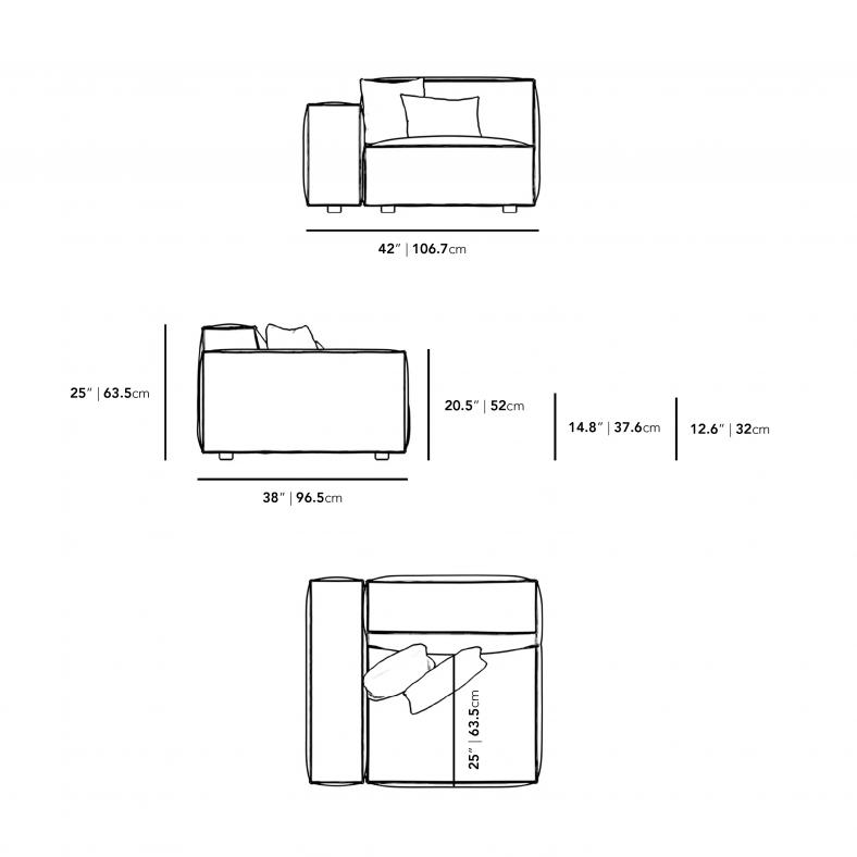 Dimensions for Porter Left Arm Corner