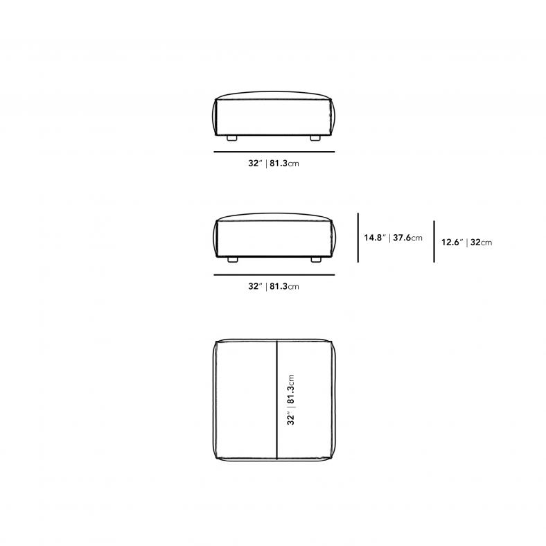 Dimensions for Porter Ottoman