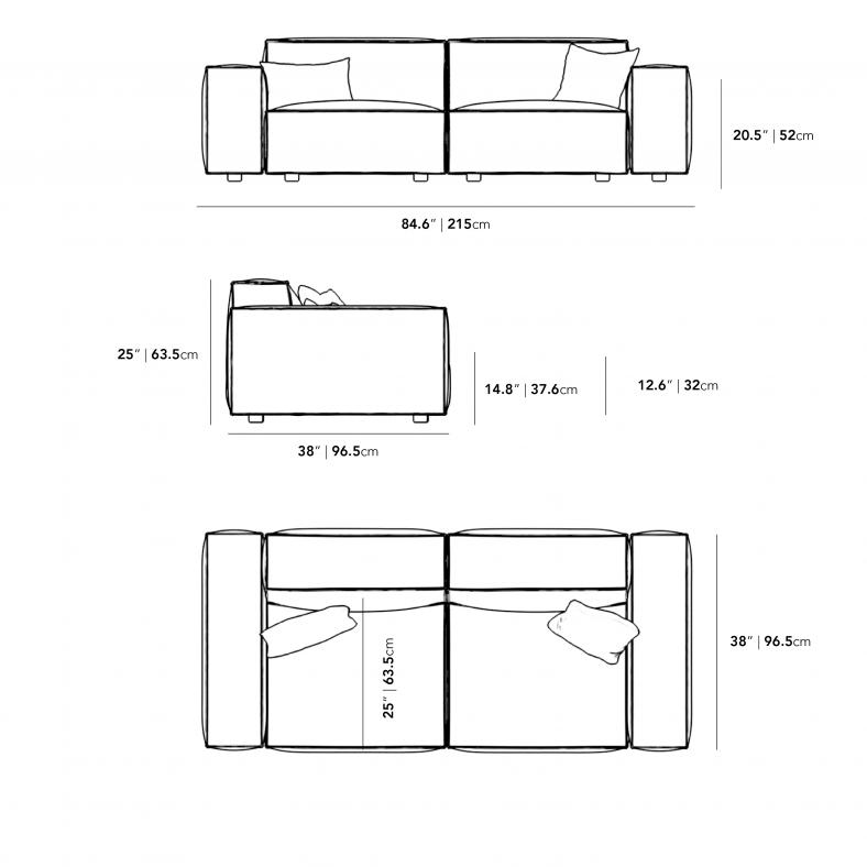 Dimensions for Portier Sofa