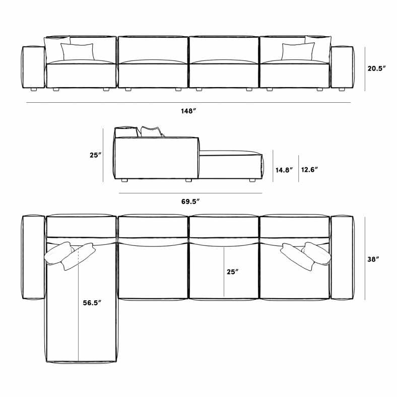 Dimensions for Porter Extended Sectional