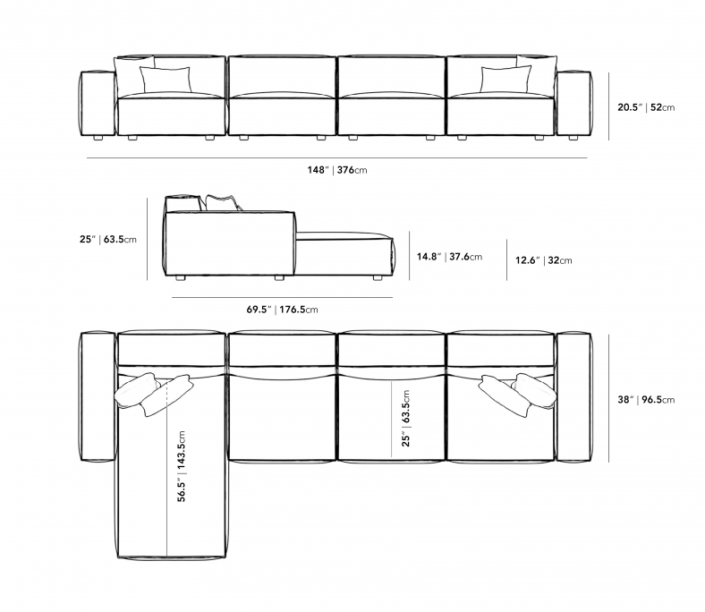 Dimensions for Portier Extended Sectional