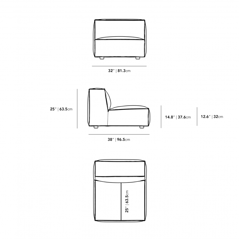 Dimensions for Portier Armless