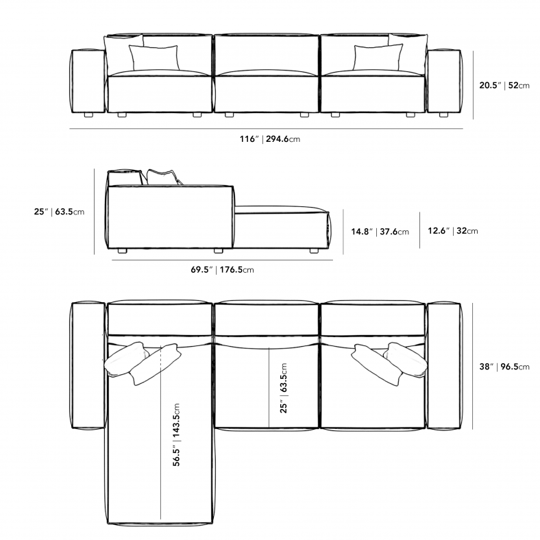 Dimensions for Portier Sectional