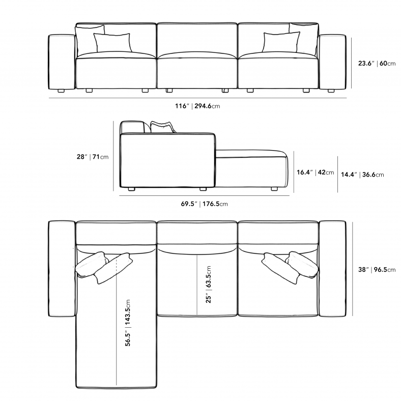 Dimensions for Portier Sectional - Grande