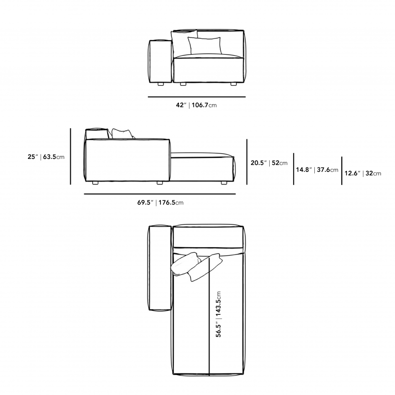 Dimensions for Portier Left Arm Chaise