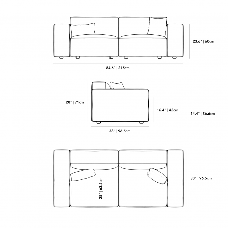 Dimensions for Portier Sofa - Grande