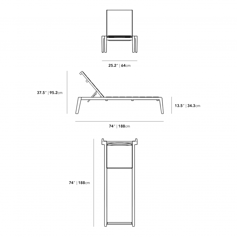 Dimensions for Preston Outdoor Lounger