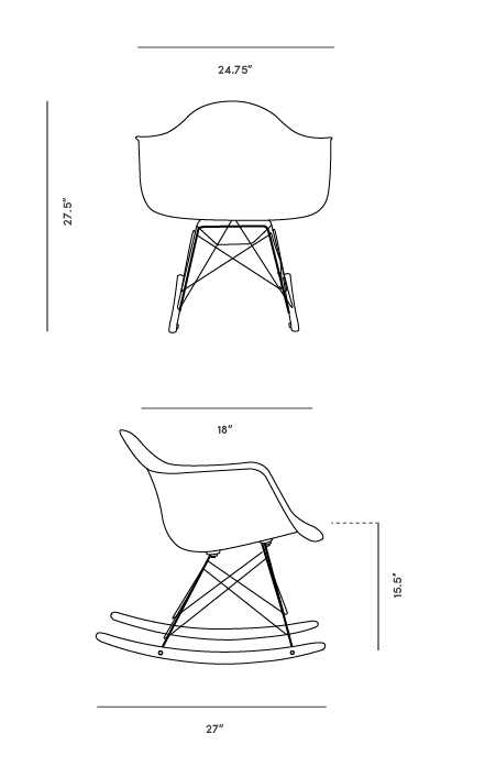 Dimensions for RAR Molded Plastic Rocker