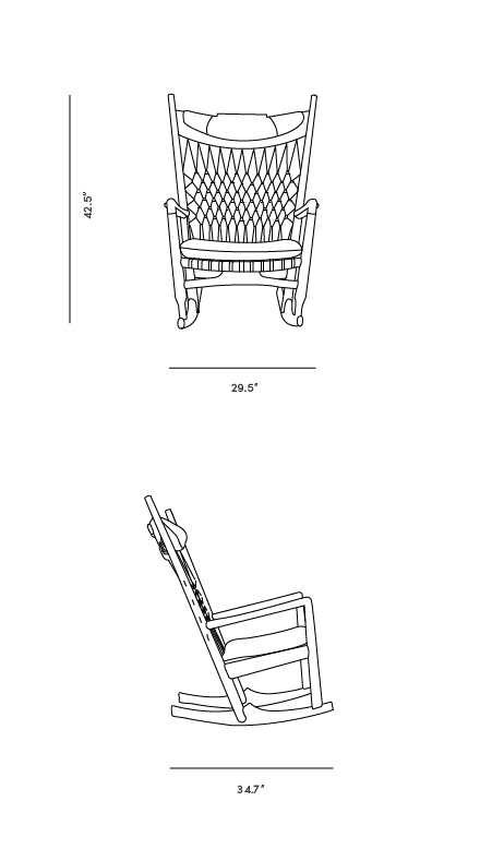 Dimensions for PP 124 The Rocking Chair