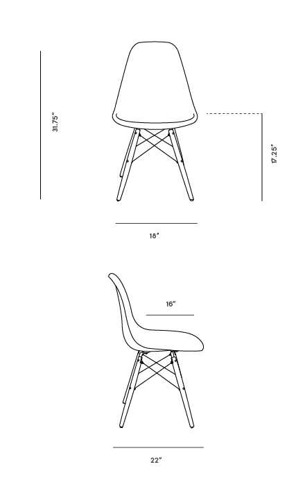 Dimensions for DSW Molded Plastic Side Chair Wooden Dowel Base