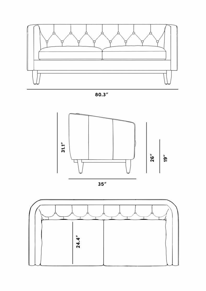 Dimensions for Scarlett Sofa