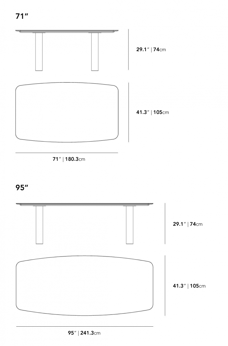 Dimensions for Solana Dining Table