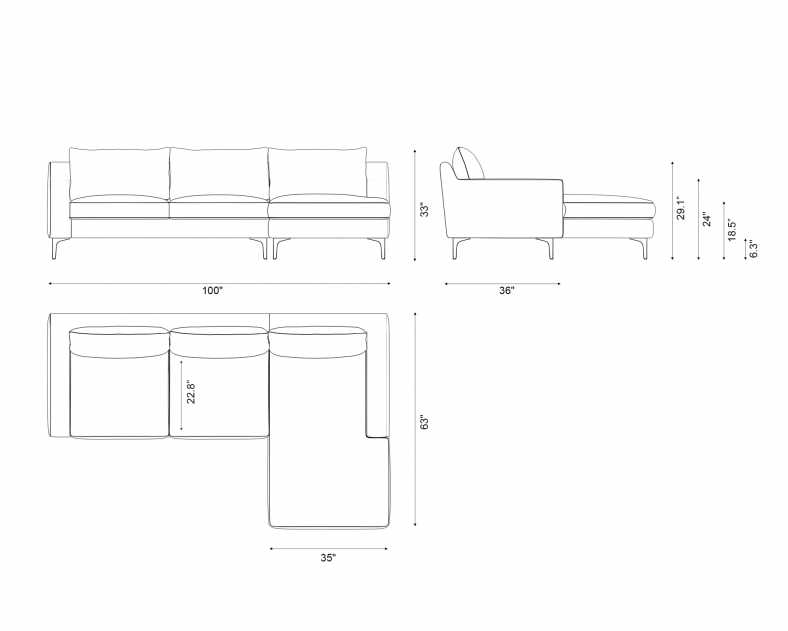 Dimensions for Sophia Sectional - Leather