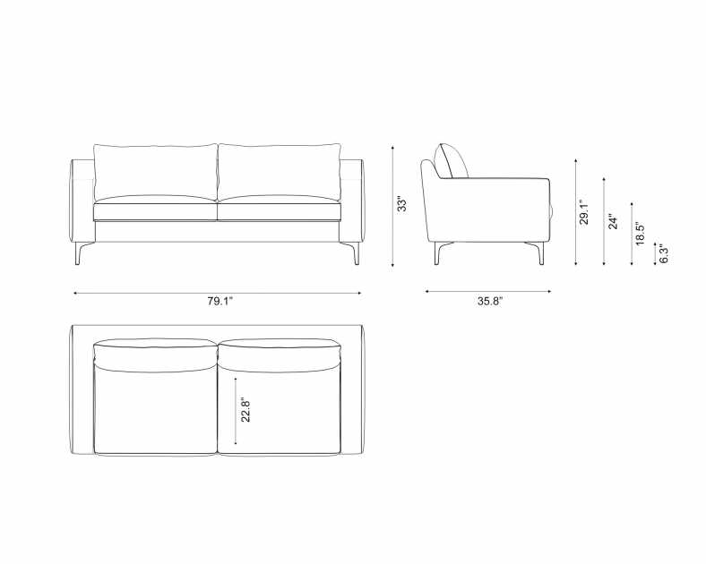 Dimensions for Sophia Sofa